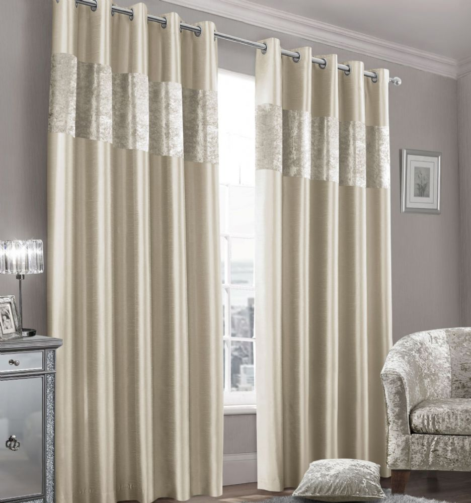 Stylish Faux Silk Crushed Velvet Modern Textured Ringtop Eyelet Pair Of Curtains Natural Colour